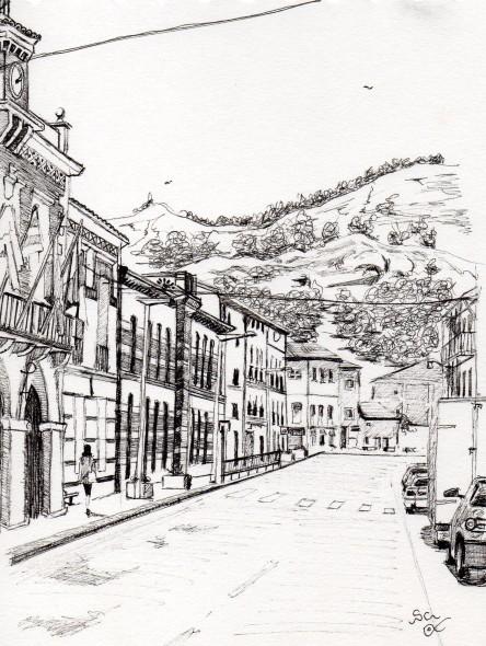 Av de Aragon, Alhama de Aragon, Spain (2012) - Pen & ink on paper - 15 x 20cm