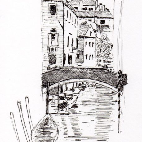 Venice canal, Venice, Italy (2013) – Pen & ink on paper – 15 x 20cm